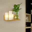 Wood 3 Heads Wall Light Antique Frosted Glass Cylinder LED Wall Sconce without Plant for Study Room, Left/Right