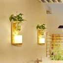 1 Bulb Up/Down Light with Barrel/Globe Frosted Glass Industrial Bedroom LED Wall Mount Light Fixture in Wood