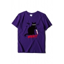 Halloween Cat Blood Knife Letter WHAT Printed Short Sleeve Round Neck Graphic T-Shirt