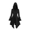 Womens Cool Plain Lace-Up Bell Sleeve Button Down Longline Gothic Irregular Coat with Hood