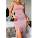 Graceful Pink Shiny Crisscross Back Sleeveless High-Slit Gown Dress for Women