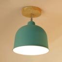 Green/Red/Yellow Bowl Ceiling Fixture Modern Fashion Rotatable Metal Single Head Semi Flush Light