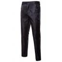 Metrosexual Men's Classic Paisley Pattern Zip Placket Plain Jacquard Tuxedo Pants