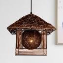 Handmade Hanging Light Japanese Bamboo 1 Bulb 12