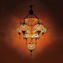 Traditional Ball Chandelier Pendant 10 Heads White/Yellow/Orange Stained Glass Hanging Light Fixture