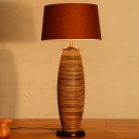 Oblong Desk Lamp Chinese Wood 1 Head Coffee Task Lighting with Drum Fabric Shade
