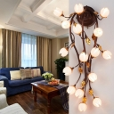 Countryside Lotus Wall Sconce Light 16 Lights Metal LED Wall Mount Lighting in Black for Bedroom