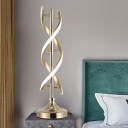 Contemporary LED Small Desk Lamp Gold Spiral Task Lighting with Acrylic Shade in White/Warm Light