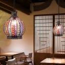 1 Head Ceiling Lamp Antique Onion Metal Hanging Light Fixture in Bronze for Restaurant