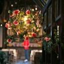 Birdcage Restaurant Pendant Lighting Industrial Metal 1 Light Brass LED Hanging Ceiling Light with Rose Decor