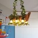 Lantern Restaurant Island Lighting Antique Wooden 6-Bulb Pink/Green LED Pendant Lamp with Plant/Flower Decor