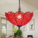 Red/Purple Scalloped Hanging Light Art Deco Metal 1 Bulb Restaurant Pendant Lighting Fixture