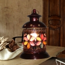 Traditional Cylinder Night Table Lamp 1 Bulb Metal Nightstand Lighting in Copper for Bedroom