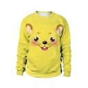 New Arrival Chinese Letter Cartoon Rat Face Chinese Opera 3D Print Long Sleeve Oversized Sweatshirt