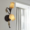 2 Bulbs Curving Wall Sconce Lighting Traditional Black/Gold Metal Wall Light Fixture with Tulip White/Yellow Glass Shade