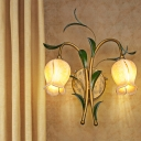 2/3 Bulbs Wall Light Sconce Traditional Living Room Wall Lighting Fixture with Flower White/Yellow Glass Shade