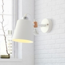 Metal Conical Sconce Light Modern 1 Bulb White Wall Lighting Fixture with Adjustable Arm
