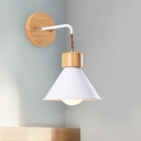 Cone Wall Lighting Modernist Metal 1 Bulb White/Grey/Pink Sconce Light Fixture with Cuvry Arm