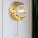 Round Sconce Light Modernism Metal 1 Bulb Gold Wall Lighting Fixture with Ball Dimpled Blown Glass Shade