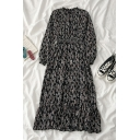 Fancy Girls' Long Sleeve Crew Neck All Over Leaves Print Ruffle Trim Long Pleated A-Line Dress in Black