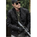 Men's Leisure Plain Long Sleeves Stand Collar Zipper Up Outdoor Cargo Jacket
