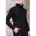 Men's Long Sleeves Turtle Neck Slim Fitted Cable Knit Casual Sweater