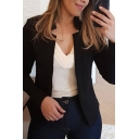 Popular Ladies' Long Sleeve Stand Collar Slim Fit Plain Draped Blazer