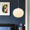 Oval Ceiling Light Contemporary White Glass 1 Bulb Pendant Lighting Fixture, 11