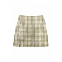 Women's Cute High Rise Zipper Back Plaid Pattern Slit Side Short A-Line Skirt