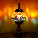 1 Light Global Night Light Mediterranean Orange/Red and Blue Stained Glass Table Lamp for Bedroom