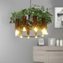 10 Lights Wagon Wheel Chandelier Antique Green Metal LED Plant Pendant Light for Restaurant
