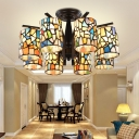 6/8 Lights Semi Flush Mount Light Cylinder Stained Glass Ceiling Fixture in Black for Living Room