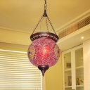 Pink/Purple Ball Shape Pendant Lighting Traditional Stained Glass 1 Bulb Living Room Ceiling Hang Fixture