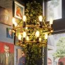 Green Bare Bulb Pendant Chandelier Vintage Metal 6/8/14 Bulbs Restaurant LED Hanging Ceiling Light with Plant