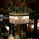 4 Lights Crystal Ceiling Chandelier Retro Black 1/2-Tier Restaurant LED Plant Down Lighting, 19.5