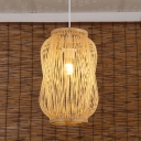 Bamboo Lantern Pendant Lighting Chinese 1 Head Beige Ceiling Suspension Lamp for Tearoom