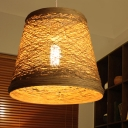 Chinese 1 Bulb Hanging Lamp Flaxen Conical Pendant Light Fixture with Bamboo Shade