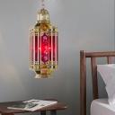 Brass 3 Lights Ceiling Chandelier Vintage Red Glass Cylinder Pendant Lighting for Bar