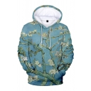 Chic Floral 3D Printed Long Sleeves Relaxed Fit Cyan Pullover Hoodie