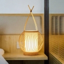 Bamboo Globe Desk Light Asian 1 Bulb Beige Task Lighting with Inner Tube Fabric Shade