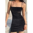 Ladies Fashion Black Glitter Spaghetti Straps Mini Fitted Party Dress
