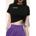 Simple Letter WEEKEEP Printed Short Sleeve Crewneck Black Crop Drawstring T-Shirt