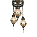 Antiqued Ball Chandelier Pendant 3 Heads Metal Hanging Light Fixture in White/Bronze with Crackle Glass Shade