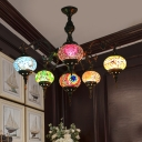 6 Lights Ceiling Chandelier Antiqued Radial Metal Pendant Lamp with Oval Stained Glass Shade