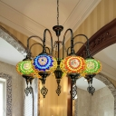 Oval Restaurant Pendant Chandelier Vintage Stained Glass 9 Bulbs Yellow/Green Ceiling Hang Fixture
