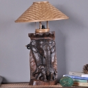 Tapered Task Light Chinese Bamboo 1 Head Beige Small Desk Lamp with Wood Elephant