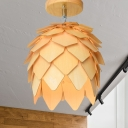 1 Head Bedroom Semi Flush Light Asia Beige Close to Ceiling Lamp with Domed Wood Shade