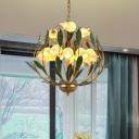 15 Bulbs Metal Hanging Chandelier Vintage Brass Blossom Living Room LED Pendant Lighting Fixture
