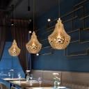 Laser Cut Pendant Light Art Deco Metal 1 Bulb Suspended Lighting Fixture in Brass