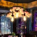 3 Lights Bare Bulb Chandelier Industrial Black Metal LED Flower Pendant Light for Restaurant